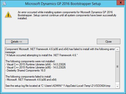 NET 4.6 Installation Error When Installing Microsoft Dynamics GP ...