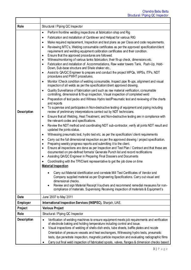 Structural & Piping QC Inspector CV - PDF