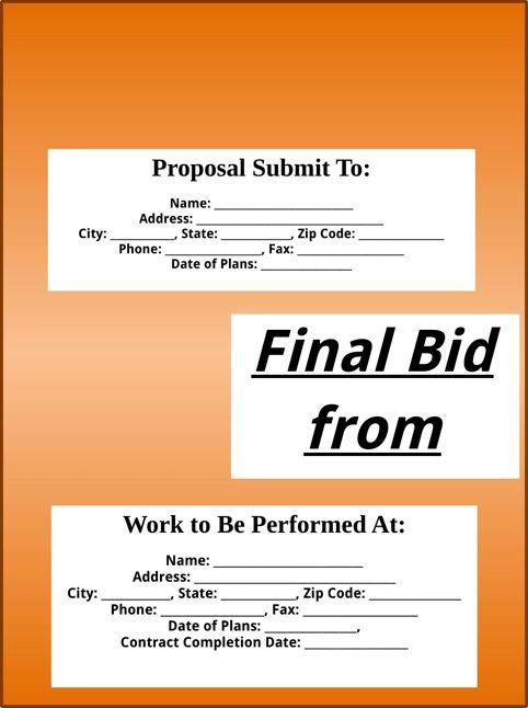 Bid Proposal Template | Templates&Forms | Pinterest | Proposal ...