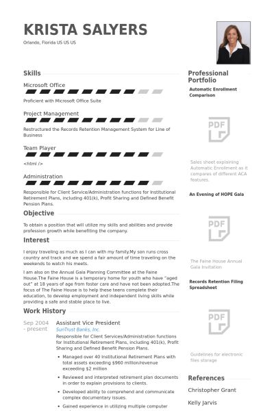 Assistant Vice President Resume samples - VisualCV resume samples ...