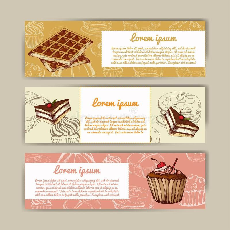 Cafe Banners With Hand Drawn Design. Dessert Restaurant Menu ...