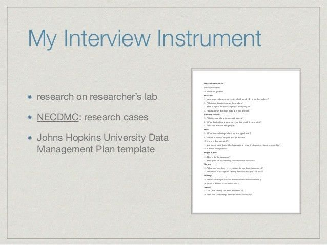 Data Interview and Data Management Plans