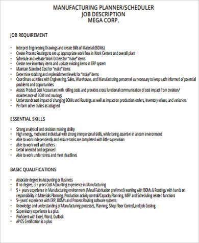 Production Planning Supervisor Job Description. Job Description .