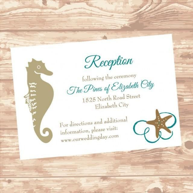 Wedding Reception Or Information Insert Card DIY Template Seashel ...