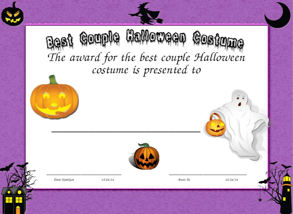 Best Couple Halloween Costume Certificate | Created with ...