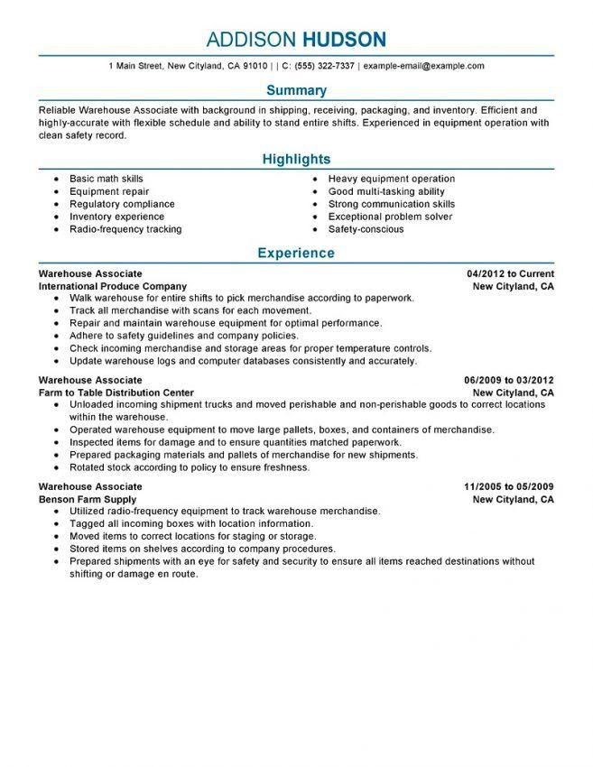 Warehouse Experience Resume [Template.billybullock.us ]