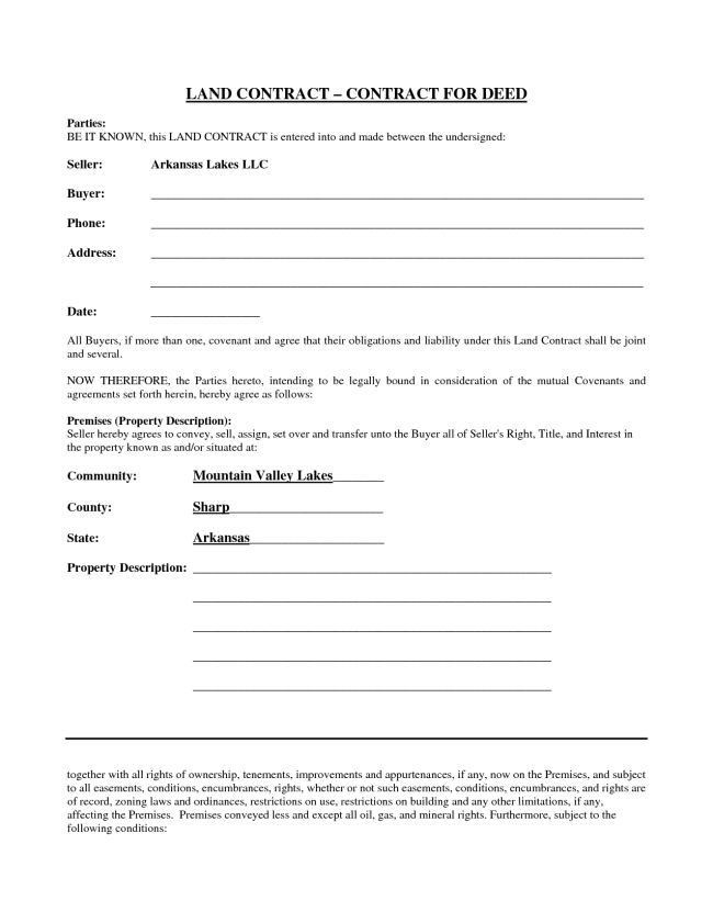 Simple Yet Best Blank Land Contract Form for Deed with Parties and ...