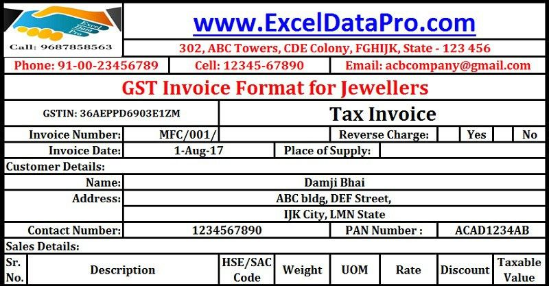 Download GST Invoice format for Jewelers in Excel - ExcelDataPro