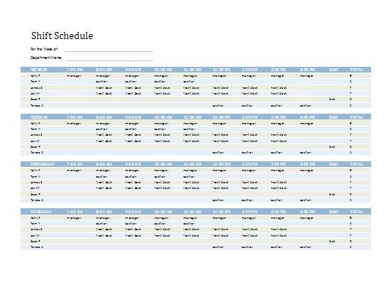 Employee Shift Schedule | Templates I Love | Pinterest | Microsoft ...