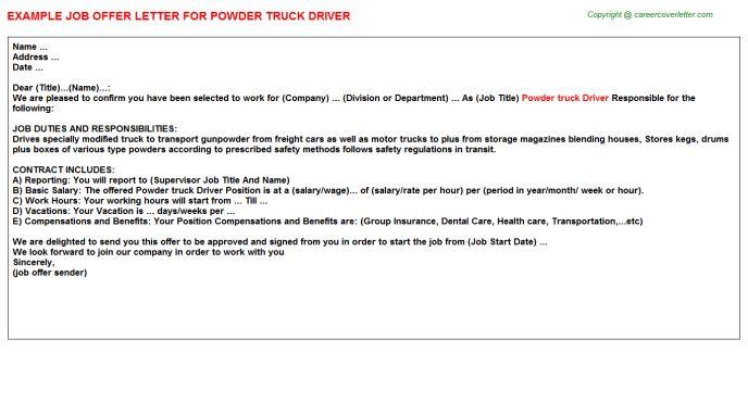 Powder Truck Driver Offer Letter