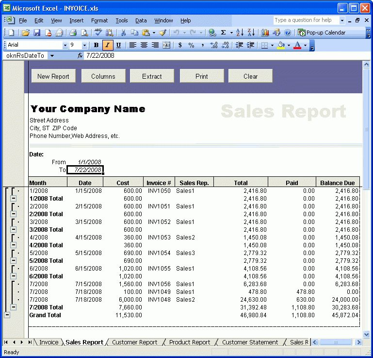 Creating Reports - Excel Invoice Manager
