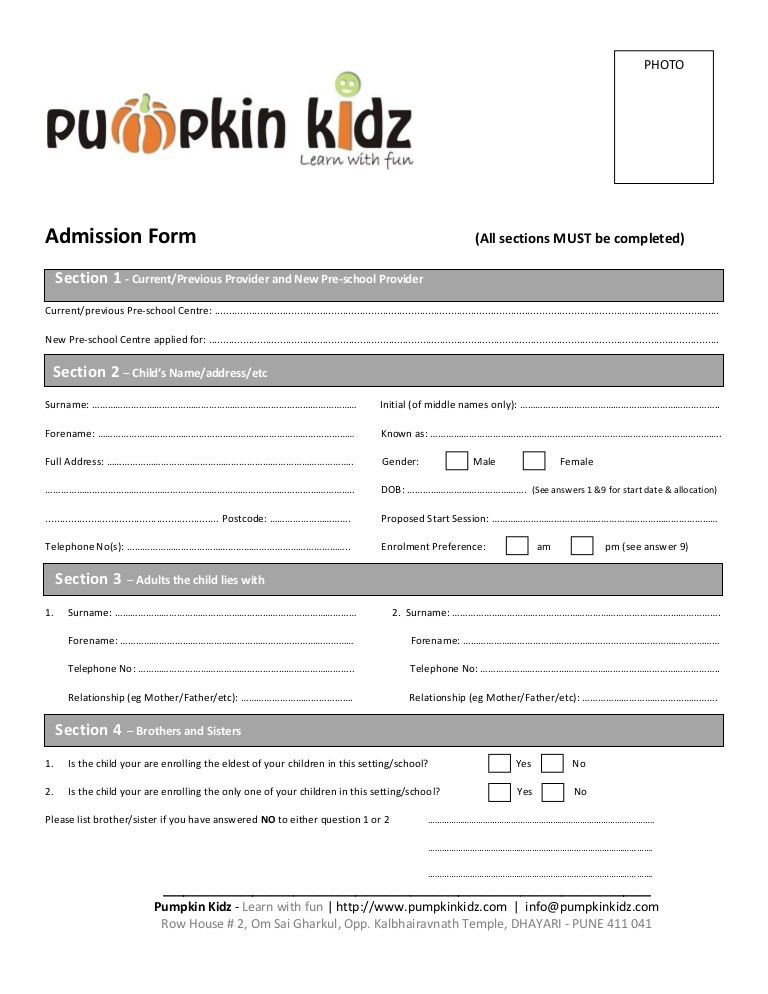 Pumpkin Kidz Admission Form