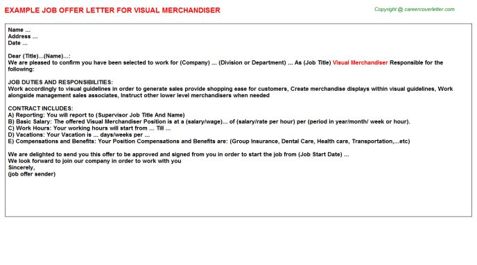 Visual Merchandiser Offer Letter