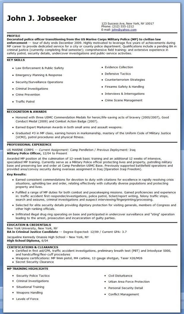 police resume summary police resume sample free resume example ...