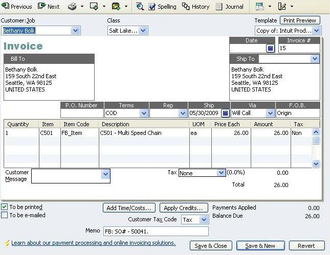 QuickBooks Journal Entries - Fishbowl