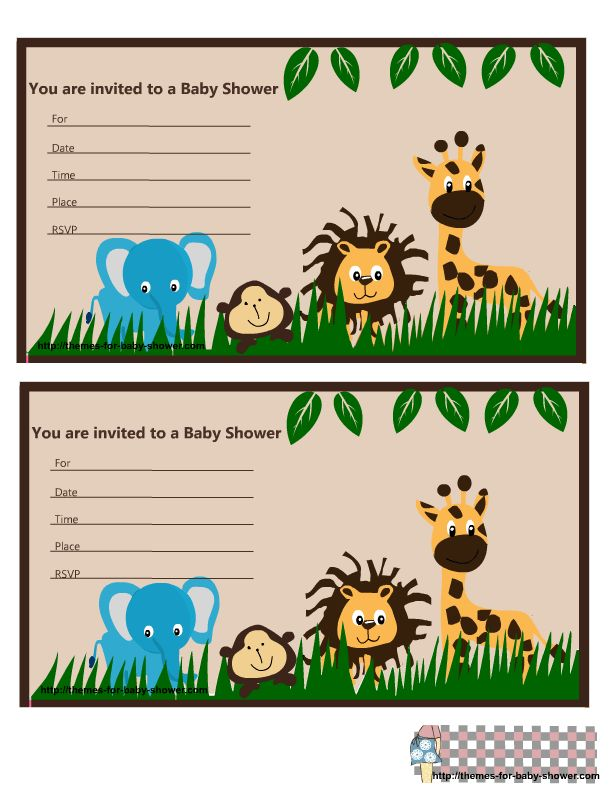Free Printable Jungle Baby Shower Invitations