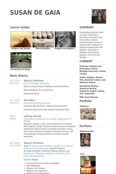 Adjunct Professor Resume samples - VisualCV resume samples database