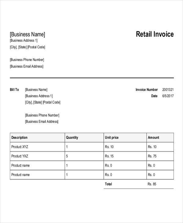 Purchase Invoice Templates - 6 Free Word, PDF, Format Download ...