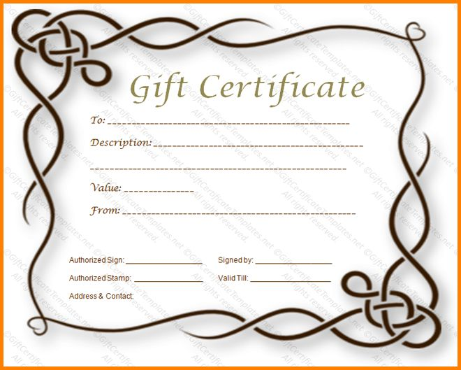 Blank Gift Certificate Template.Formal Gift Certificate Template ...