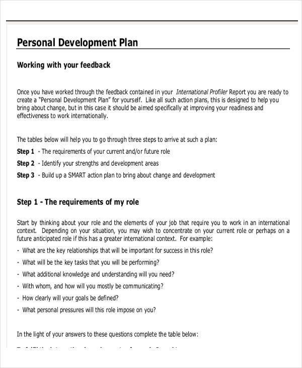 Personal development action plan template sample personal personal business plan templates 6 free word pdf format pronofoot35fo Choice Image