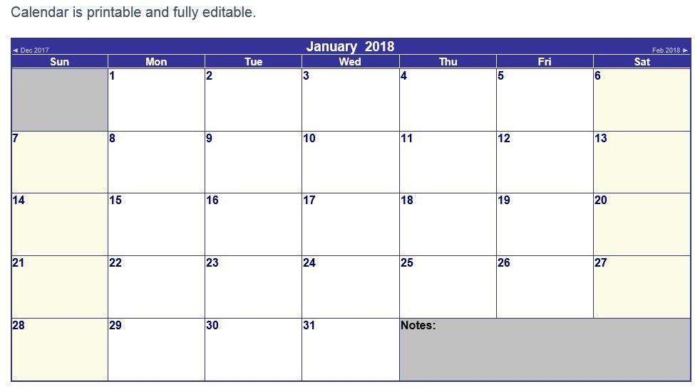 10 Free Sample Printable Calendar Templates for 2018 – Printable ...