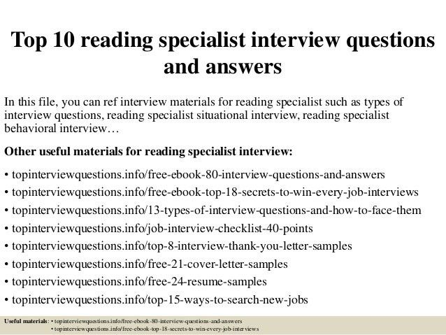 reading specialist resumes