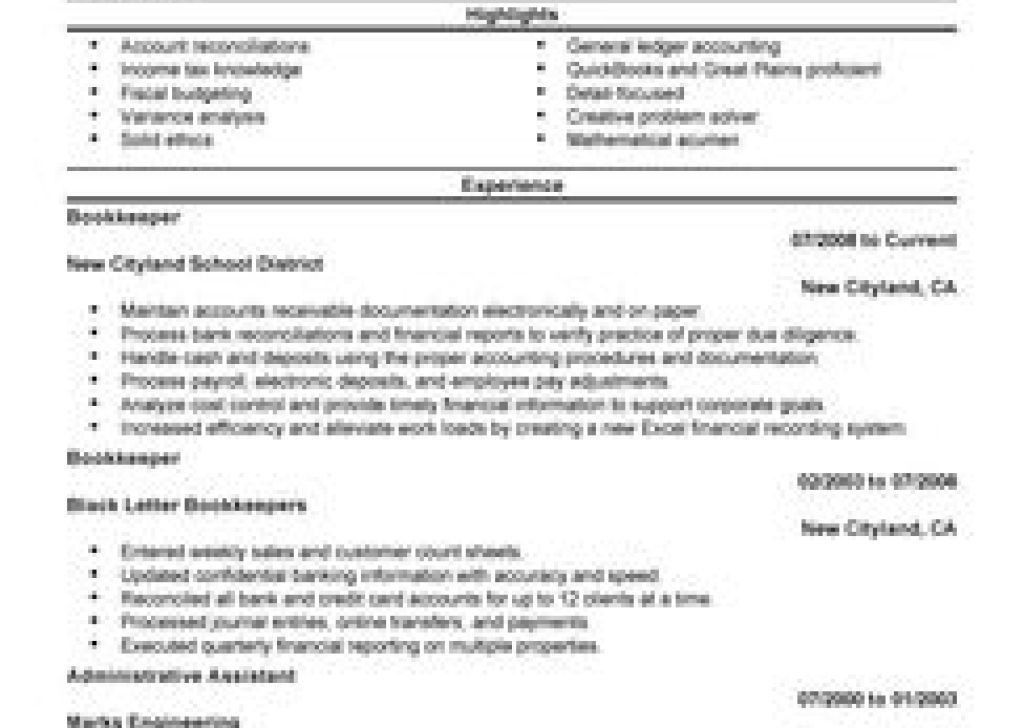 Ezhostus Marvellous Best Bookkeeper Resume Example Livecareer With ...