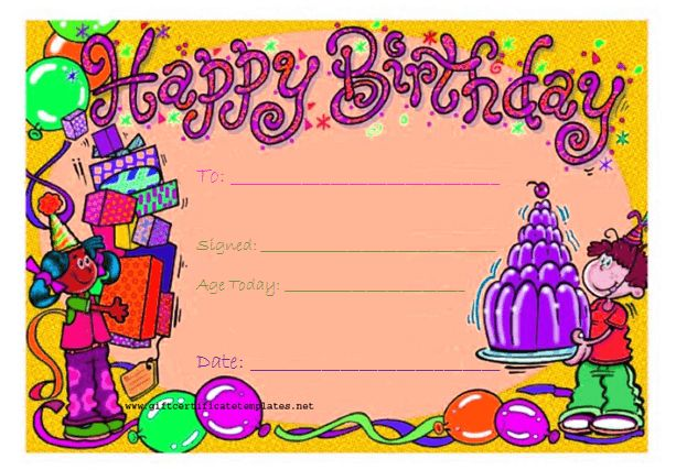Candy birthday gift certificate template - Gift Certificates