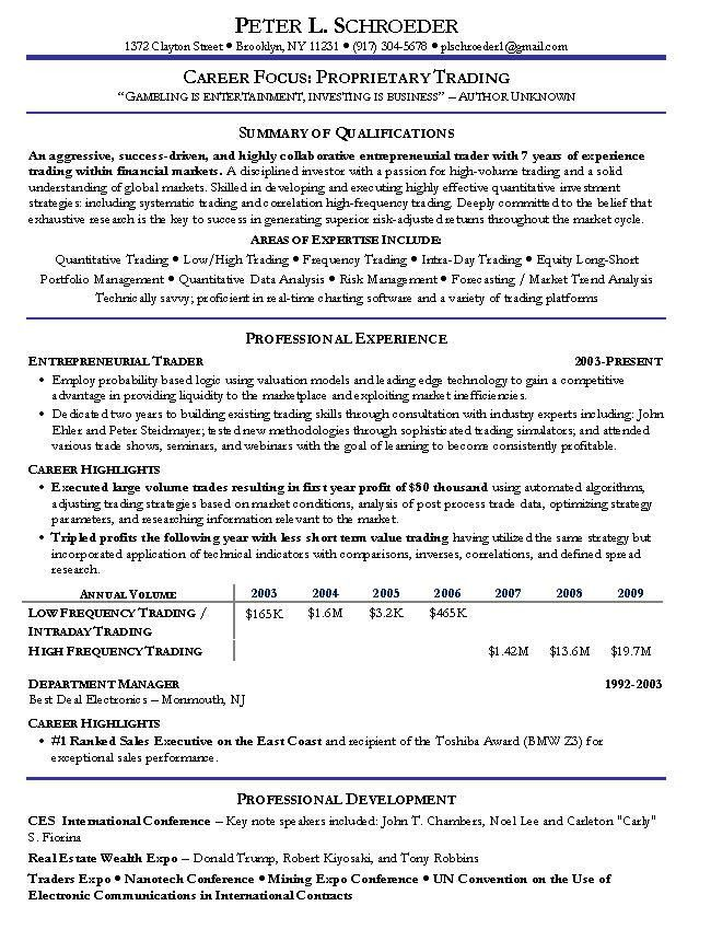 Portfolio Manager Resume Example: Financial Services Sample Resumes