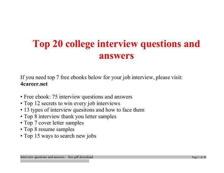 Best 10+ College interview questions ideas on Pinterest | Job info ...