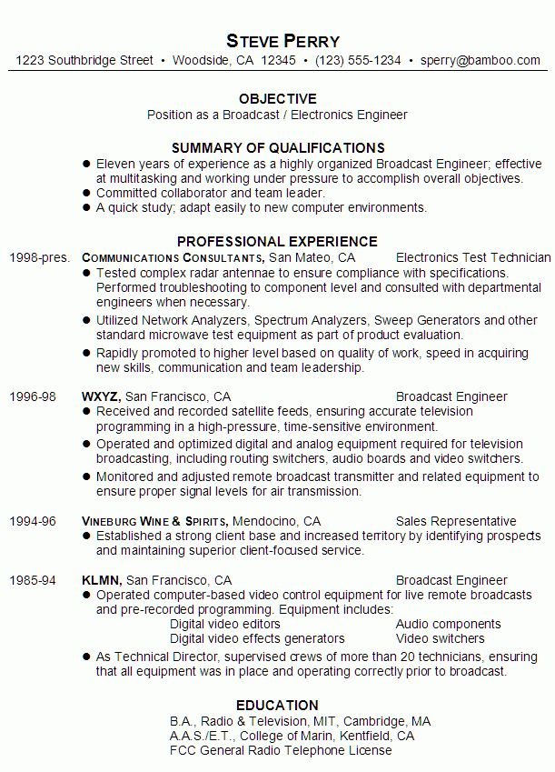 Resume for a Broadcast/ Electronics Engineer - Susan Ireland Resumes