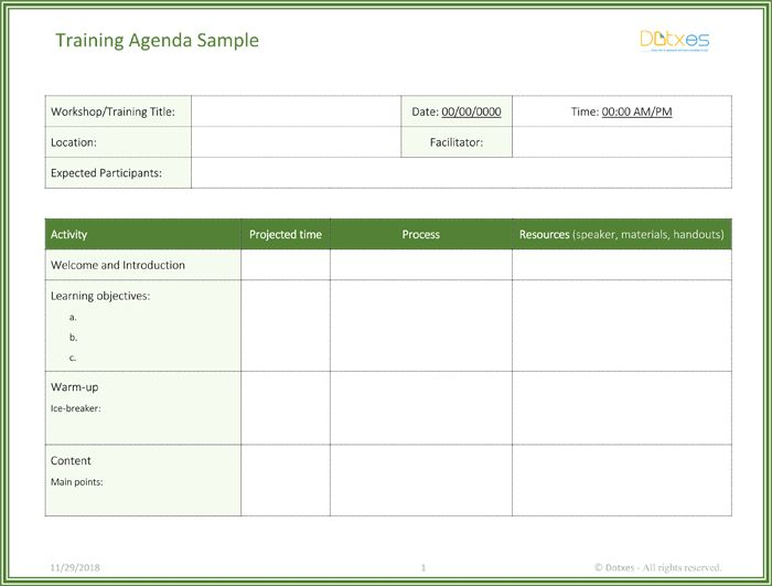Minimalist Agenda Template Word Design with Title Date and Table ...