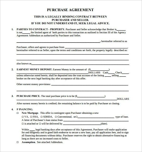 Real Estate Purchase Contract Template | Template Idea