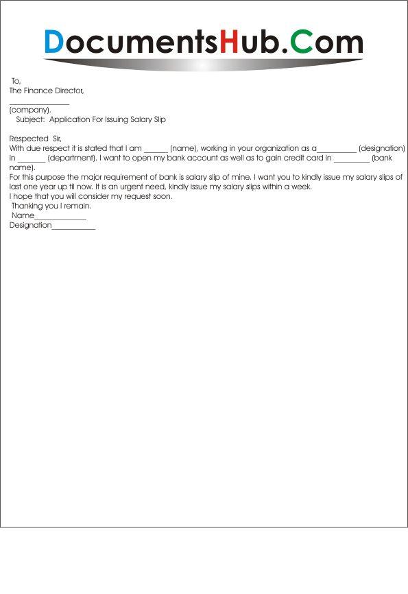 Application For Issuing Salary Slip