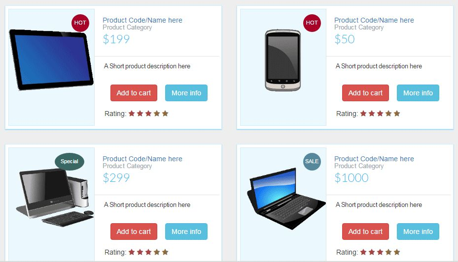 A free Bootstrap product listing template with HTML and CSS