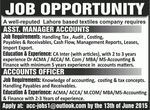 Accounting Jobs in Lahore 2015 June as Assistant Accounts Manager ...