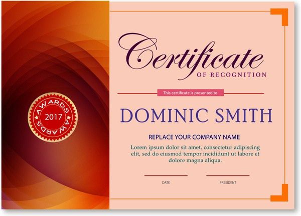 Award certificate design with abstract pink background Free vector ...