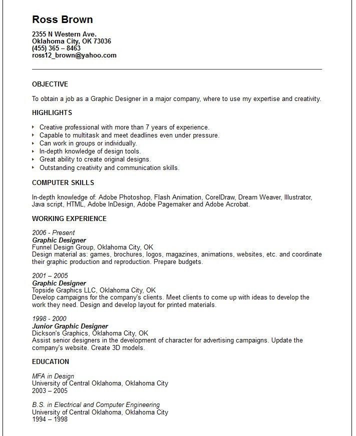 graphic web designer sample resume cosmetic representative sample ...