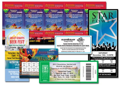 Event Ticket Printing Samples
