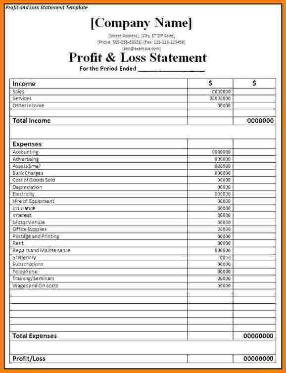 profit and loss statement for self employed - thebridgesummit.co