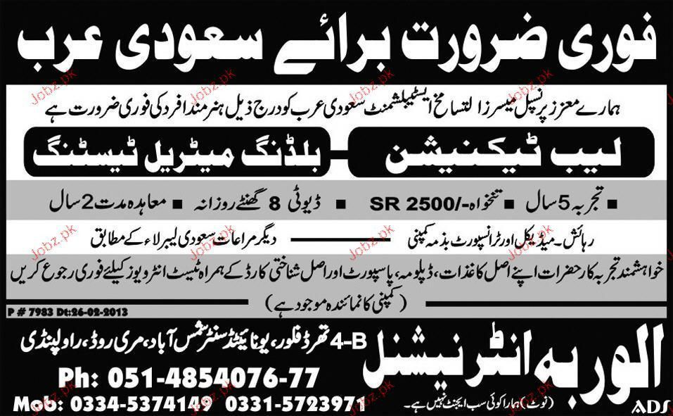 Lab Technicians Building Material Testing Wanted 2017 Jobs ...