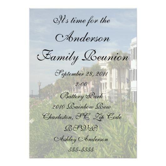 Beautiful City Rainbow Row Family Reunion 5×7 Paper Invitation ...