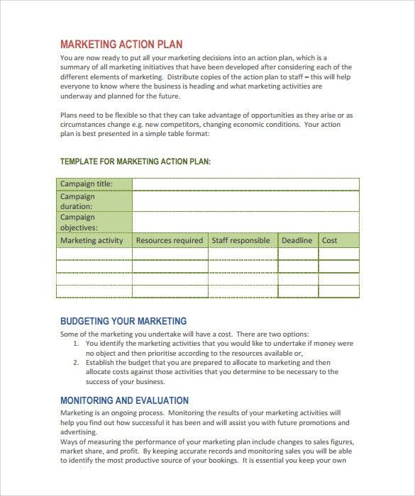 Sample Marketing Action Plan Template   8+ Documents In PDF