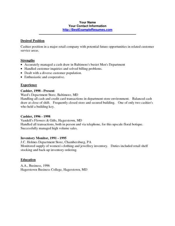 cashier responsibilities resume samples
