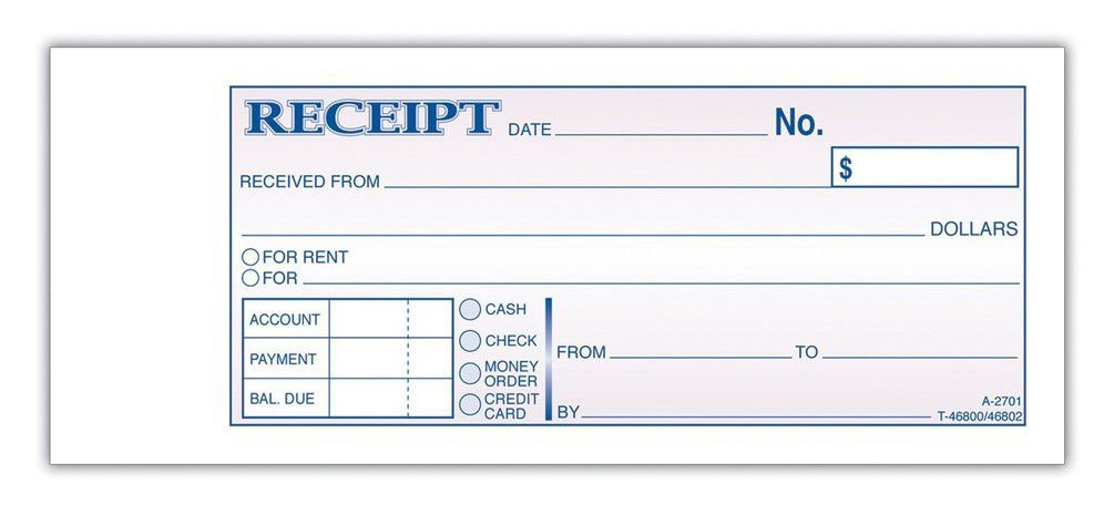 Receipt template for rent payment