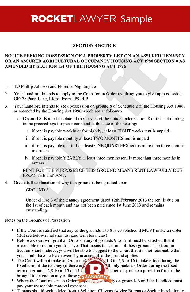 8 Notice - Section 8 Notice to Quit - Section 8 Notice Template