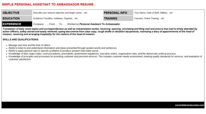 Personal Assistant To Ambassador Cover Letter & Resume