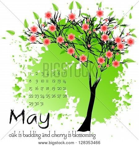 Abstract nature background with blooming tree and sample of dates ...
