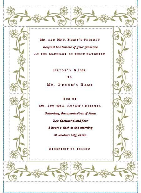 Wedding Invitation Templates Free Download Publisher