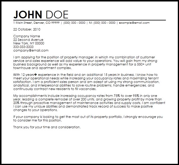 Free Property Manager Cover Letter Templates   CoverLetterNow